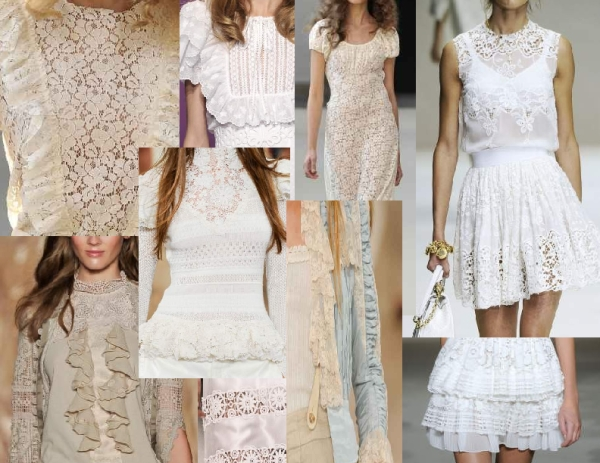 Spring 2011 antique and tablecloth lace from Dolce and Gabbana, Ralph Lauren, Andrew Gn, Anna Sui, Collette Dinnigan, Luisa Beccaria and Just Cavalli