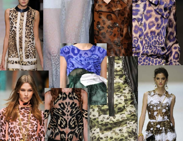 Leopard clothing as seen on the Spring 2011 runways of Giambattista Valli, Blumarine, Givenchy, Michael Van der Ham, Loewe, Burberry, Francesco Scognamiglio and Dolce & Gabbana