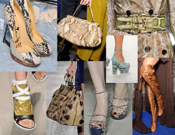 Snakeskin accessories from the Spring 2011 runways of Lanvin, Thakoon, Rochas, Mark Fast, Pucci, Burberry and YSL
