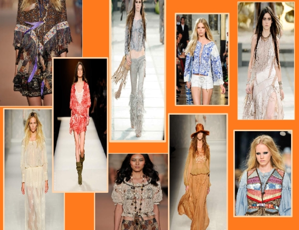 Bohemian looks from the Spring 2011 runways of Anna Sui, Isabel Marant, Roberto Cavalli, Emilio Pucci, Antonio Marras and Alberta Ferretti