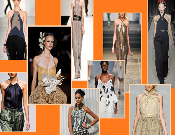Halter necklines from the Spring 2011 runways of YSL, Marc Jacobs, United Bamboo, Suno, Amanda Wakeley, Vena Cava, Maurizio Pecoraro, House of Holland and Issey Miyake