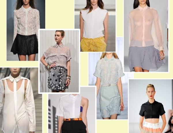 Buttoned-up shirt styles from the Spring 2011 runways of Cushnie et Ochs, Suno, Davidelfin, Jenny kayne, Walter, Simone Rocha, Preen and Jonathan Saunders