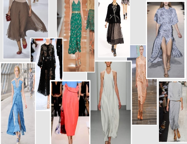 Ankle length skirts and dresses from the Spring 2011 runways of Chloe, Chanel, Alexander Wang, Michael Kors, Calvin Klein, Jil Sander, Brioni, Stella McCartney, Peter Pilotto and Rebecca Taylor