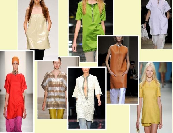 Tunics from the Spring 2011 runways of CNC Costume National, Burberry Prorsum, Mathew Ames, Celine, Albino, Derek Lam and Osman