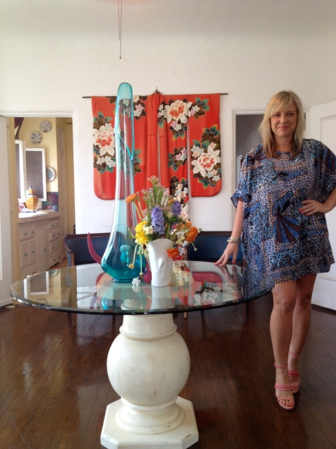 In my dining room getting ready wearing dress and shoes by Acne