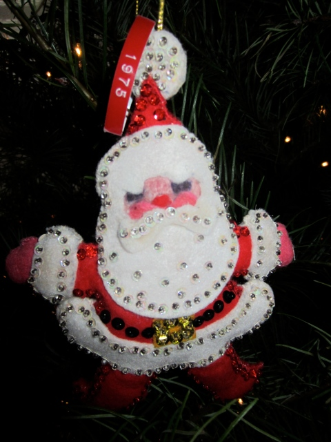 Her sweet tree contained all little homemade ornaments; this one made by her Grandmother for Jesse when she was born.