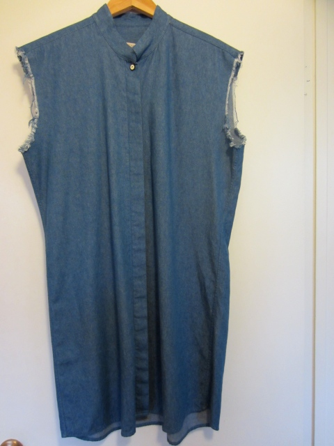 Love this denim shirt dress with frayed arm holes.  All of her denim is sourced in Japan.