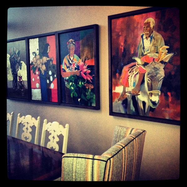 Mary Martell's art collection.  Freshly decorated house by the amazing interior designer, Jay Jeffers.