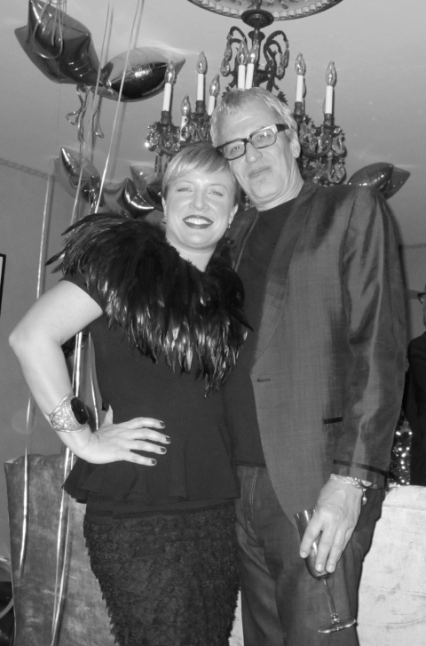 Me and Stuart Berman in my feather and lace finery for the night.  Peplum top is by Corey Lynn Calter and the feathers and lace skirt I have had in my closet for years.