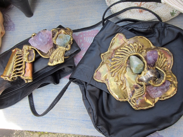 Amazing hand made brass and amethyst buckle and purse.  I really wanted the buckle but she wanted to sell as a set.