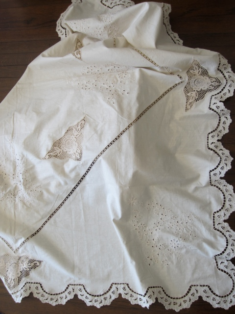 For my future home I bought a beautiful vintage linen tablecloth.  I can't wait to use it!
