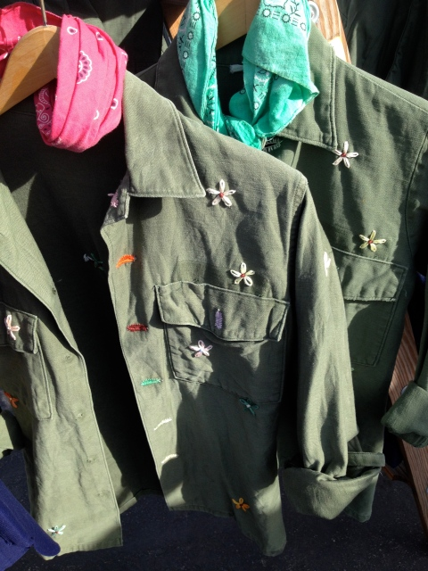 This is probably my favorite thing the entire day.  I absolutely love the embroidered hippie flowers on the army jacket and then the bandana...a perfect example of why I love Japanese style so much.
