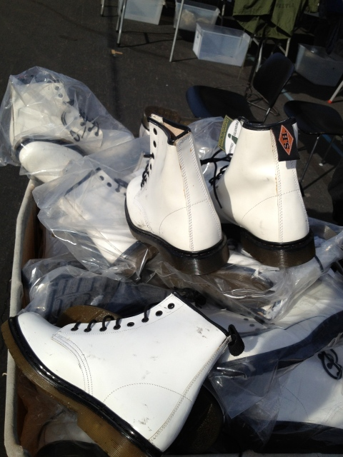 To go along with the look you've got a huge bin of white Doc Martens.