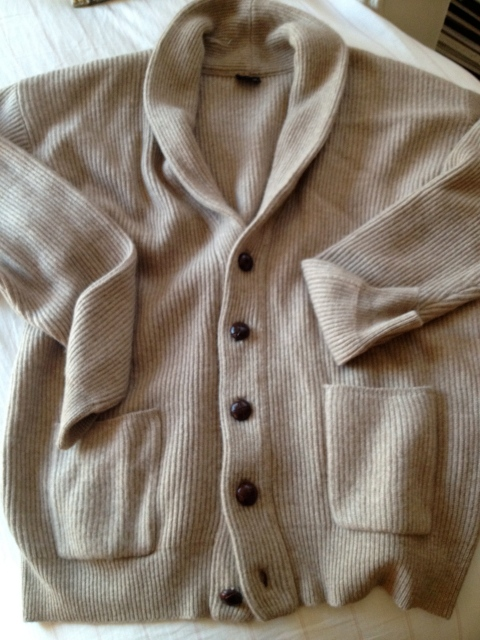 A serious score.  A vintage camel cashmere oversized cardigan.  So classic and perfect.