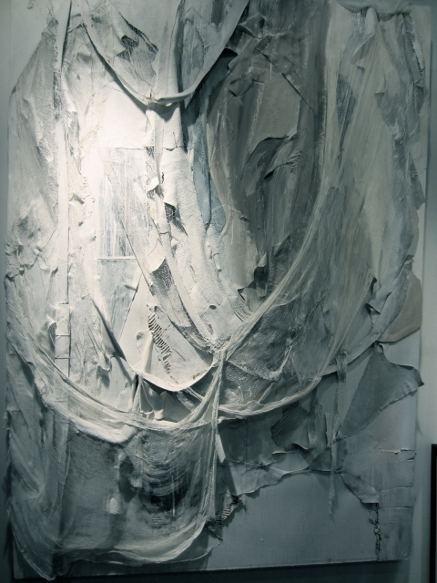 Large scale textural piece made with leather and other fibers from the Dermot Begley gallery