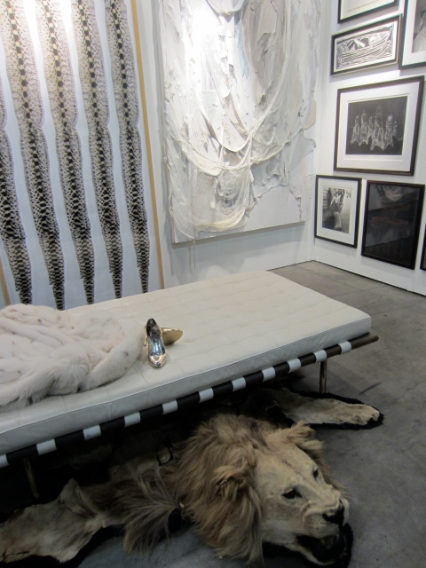 I wanted to live in this booth by Dermot Begley; love the palette and the mixed media