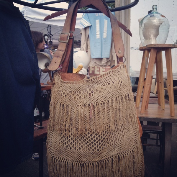 Loved the look of these heavy leather bags with antique crochet.