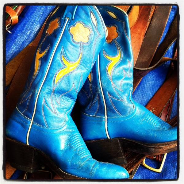 How often do you find turq and yellow cowboy boots?  Too bad they were size 6 1/2