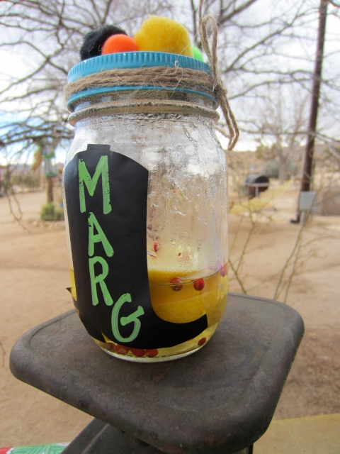 Each jar had a drink to start of the party with vodka, lemons and pink peppercorns that had been marinating for days.