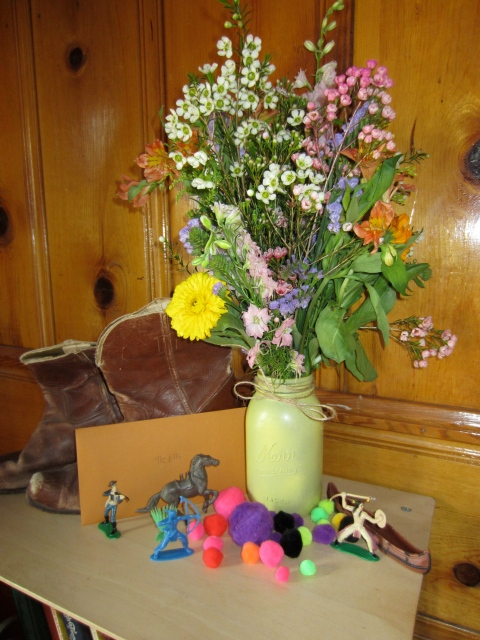 A little wildflowers, some cowboys and pompoms to set the mood for when guests arrived.