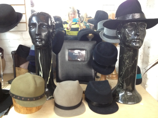 A selection of hats in her studio