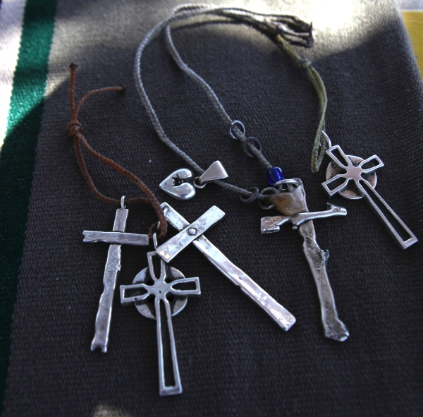 The crosses are influenced by the local cemetary's graves.