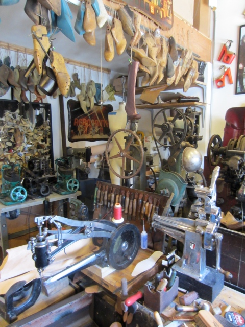 Every inch of his studio is filled with equipment, tools and lasts...all vintage