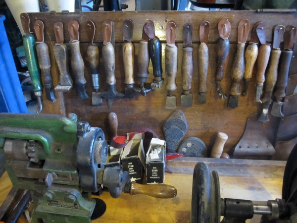 His collection of hand made vintage tools that he uses to create his collection
