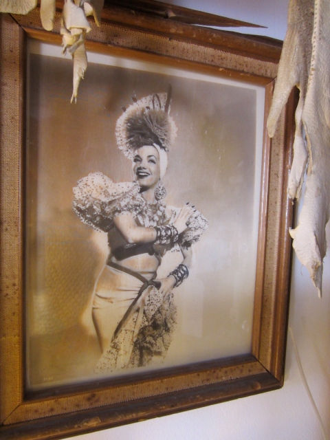 A picture of Carmen Miranda in his studio
