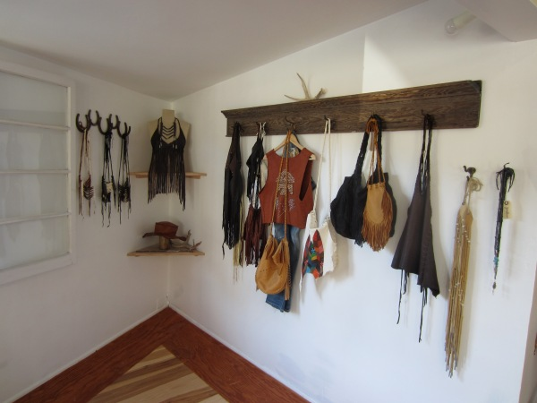 The corner of the store features Heyoka's full line of handmade leather goods.