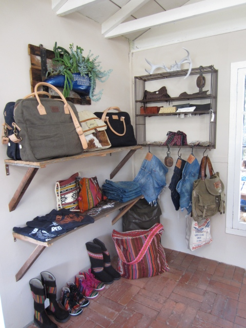 My favorite corner of the store featuring Bandit Brand, Daughter of the Sun, Levis and Heyoka's leather pouches.